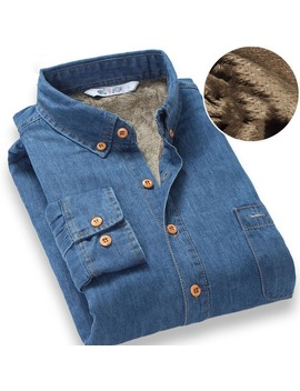 Top Quality Fashion Brand Winter Jeans Shirt Men Warm Fleece Lined Velvet Denim Shirts 4 Xl Male Bottoming Shirt by Ali Express.Com