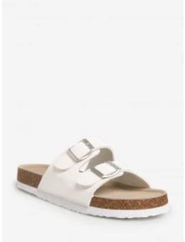 Buckled Clog Heel Slides   White Eu 35 by Zaful