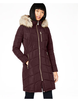 Hooded Faux Fur Trim Puffer Coat, Created For Macy's by General