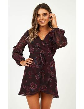 On Your Pedestal Dress In Wine Floral by Showpo Fashion