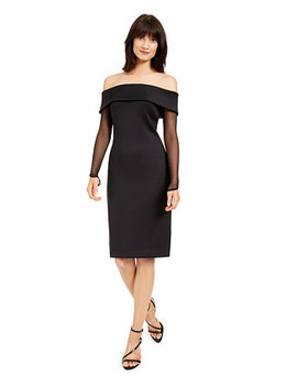 Off The Shoulder Illusion Sleeve Dress by General