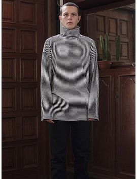 Stripe Turtleneck Long Sleeve T Shirt Black by Layer Union