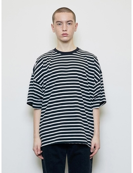 Oversized Striped T Shirt Black by D.Prique