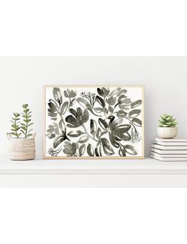 Monochrome Florals, Black, Printable Wall Art, Floral Watercolor Abstract Art, Watercolor Art Print, 24 X 36 Print, Floral Art by Etsy