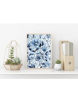 Monochrome Florals Ii, Blue, Printable Wall Art, Floral Watercolor Abstract Art, Watercolor Art Print, 24 X 36 Print, Floral Art by Etsy
