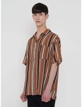 Color Block Stripe Shirt Beige by Lieu Homme