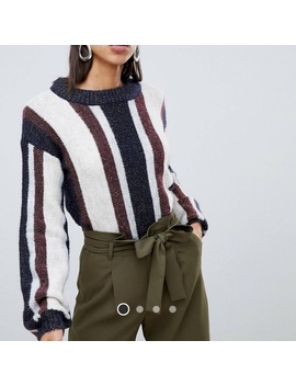 Asos Vero Moda Striped Knitted Sparkly Sweater by Asos