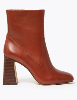 Leather Flared Heel Ankle Boots by Marks & Spencer