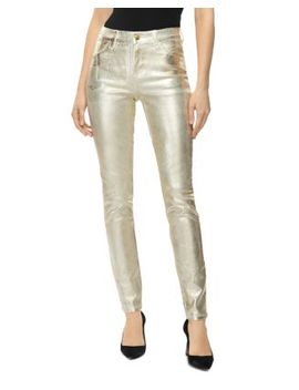 Maria Metallic High Rise Skinny Jeans In Gold Messaline by J Brand