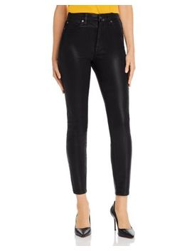 Skinny Ankle Jeans In Black Coated by 7 For All Mankind