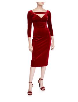 Velvet 3/4 Sleeve Deep Neck Dress by Chiara Boni La Petite Robe