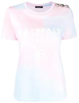 Tie Dye Button Detail T Shirt by Balmain