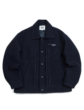 Neoprene Pin Tuck Wool Jacket Navy by Add