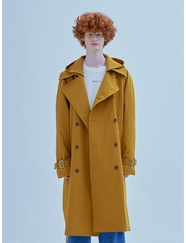 Flap Hoodie Trench Coat Mustard by Add