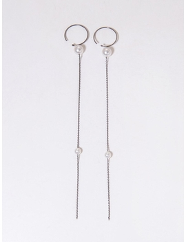 C Curve Pearl Drop Earrings by Tatiana
