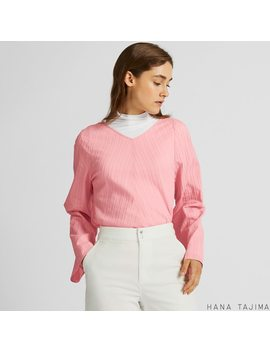 Women V Neck Flare Long Sleeve Blouse (Hana Tajima) by Uniqlo