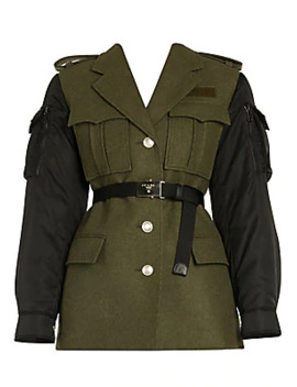 Loden Wool & Nylon Military Jacket by Prada