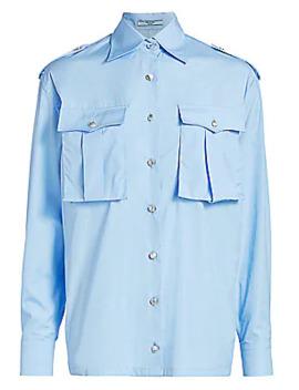 Poplin Military Button Front Shirt by Prada
