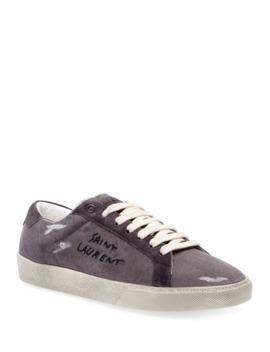 Men's Canvas Low Top Sneakers by Saint Laurent