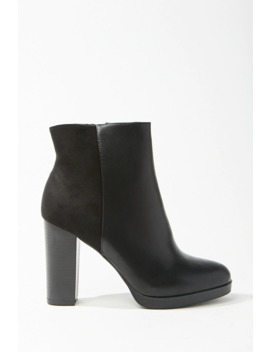 Faux Leather Block Heel Booties by Forever 21
