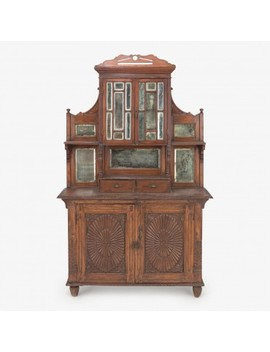 Vintage Indian Wood & Mirror Cabinet by Abc Home
