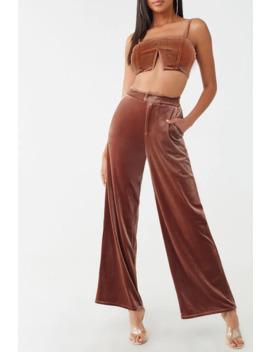 Velvet Crop Top & Wide Leg Pants Set by Forever 21