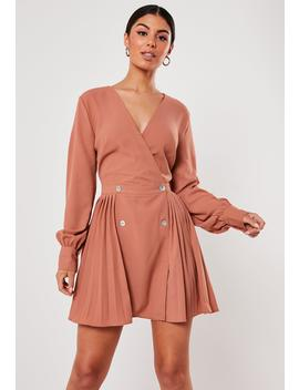 Orange Double Button Pleated Skater Dress by Missguided