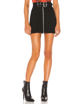 Genevieve Mini Skirt In Black Denim by Superdown
