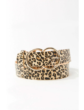 Faux Leather Leopard Print Waist Belt by Forever 21