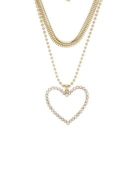 The Studded Hearts Charm Necklace by Luv Aj