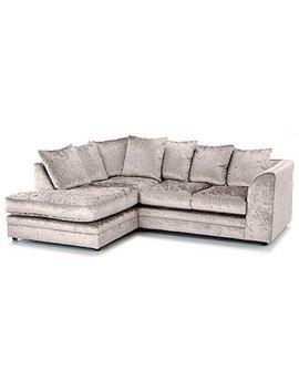 Michigan Velvet Left Hand Corner Sofa by Dunelm