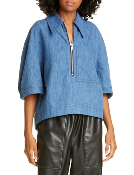 Sculpted Zip Up Polo by Tibi