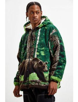 Bear Print Sherpa Full Zip Hoodie Sweatshirt by Urban Outfitters