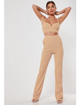 Brown Co Ord Wide Leg Trousers by Missguided