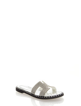 Sparkle Cut Out Rhinestone Slide Sandals by Go Jane