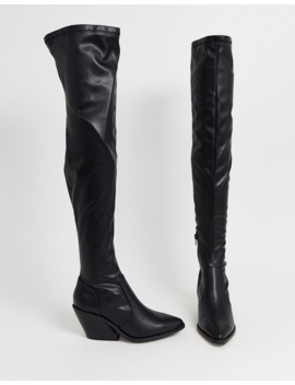 Asos Design Kingpin Western Flat Thigh High Boots by Asos Design