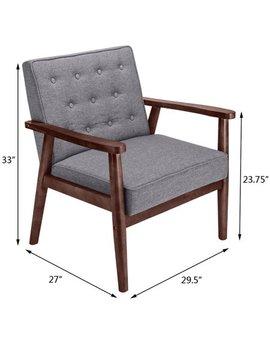 U Bes Goo Club Chair Mid Century Modern Solid Wood & Fabric Lounge Arm Recline Furniture by U Bes Goo