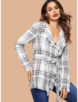 SheinFrayed Trim Belted Tweed Plaid Coat by Sheinside