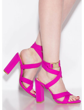 X Games Strappy Chunky Buckled Heels by Go Jane