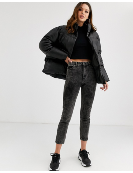 Asos Design Tall Leather Look Puffer Jacket by Asos Design