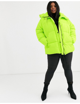 Asos Design Curve Puffer Jacket With Trim Detail In Lime by Asos Design