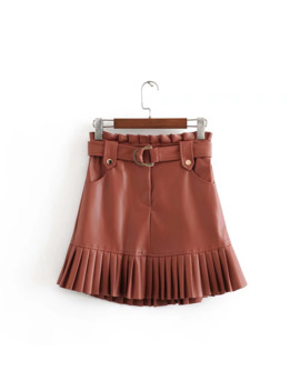 Stylish Chic Pu Leather Mini Skirt With Belt Za Fashion Women High Waist Pleated Hem Skirts Casual Streetwear Party Faldas by Ali Express.Com