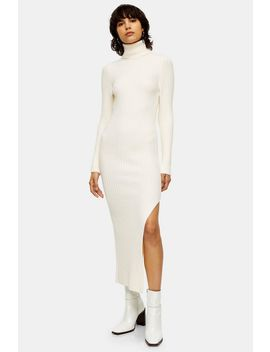 Ivory Knitted Roll Neck Dress by Topshop