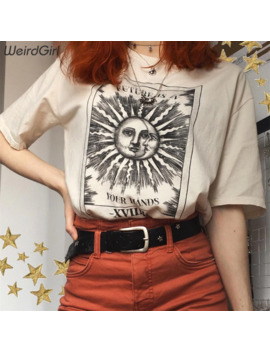 Weirdgirl Women Casual Fashion T Shirt Khaki Letter Sun Moon Print Loose O Neck Half Sleeve Elastic Stretched Summer Home New by Ali Express.Com
