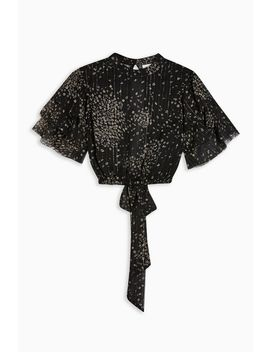 Glitter Floral Ruffle Blouse by Topshop
