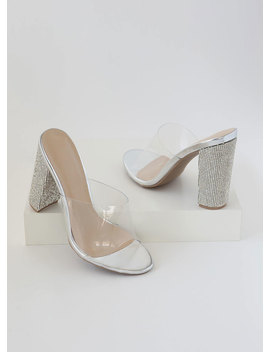 Sparkle Clear Faux Leather Mule Heels by Go Jane