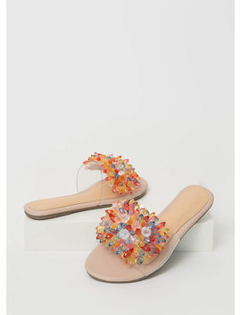 Crystal Clear Jeweled Slide Sandals by Go Jane