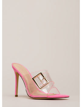 Clear Out Buckled Peep Toe Mule Heels by Go Jane