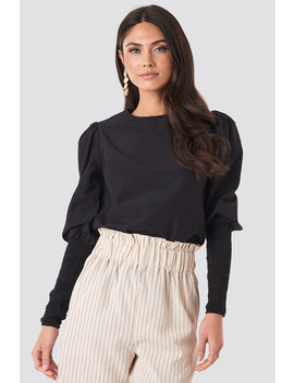 Smock Sleeve Detail Blouse Black by Na Kd Trend