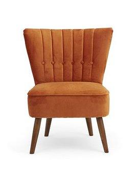 Isla Velvet Cocktail Chair   Orange by Dunelm